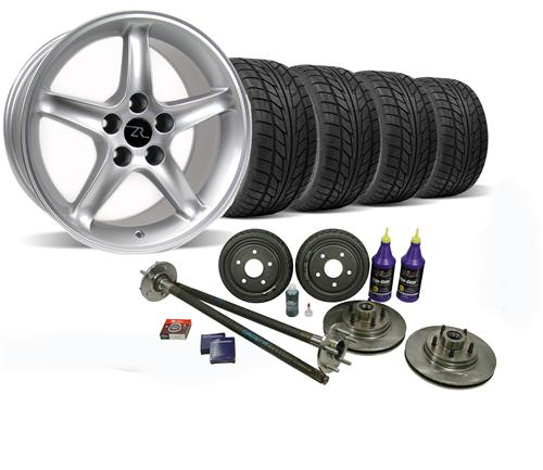 87-93 MUSTANG SILVER COBRA R WHEEL & NITTO TIRE KIT WITH MUSTANG 5-LUG CONVERSION KIT