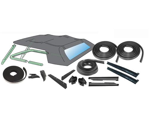 Mustang Convertible Top 16 Piece Weatherstrip Kit, From 10/87 (88-93)