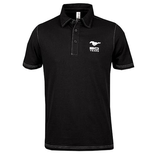 50 Year Black Jersey Cotton Polo - Picture of 50 Year Black Jersey Cotton Polo