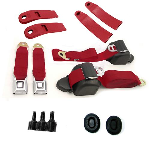Mustang Front Seatbelt Kit Scarlet Red (79-89)