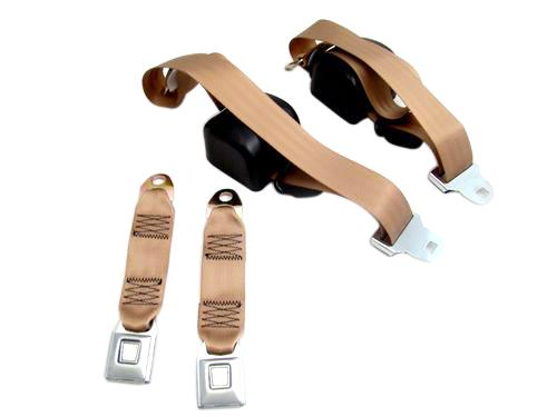 Mustang Front Seat Belt Set Sand Beige (84-89) - Picture of Mustang Front Seat Belt Set Sand Beige (84-89)