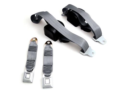 Mustang Front Seat Belt Set Smoke Gray (87-89)