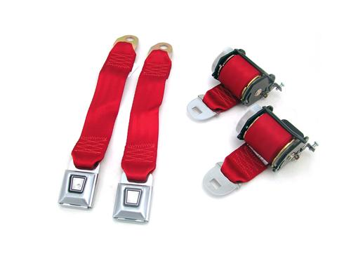 Mustang Rear Seat Belt Set Scarlet Red (87-89)