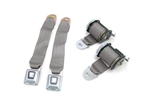 Mustang Rear Seat Belt Set Smoke Gray (87-89)