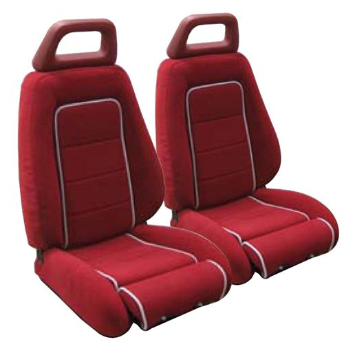 Mustang GT Cloth Seat Upholstery Red with Gray Welt (85-86) GT Convertible