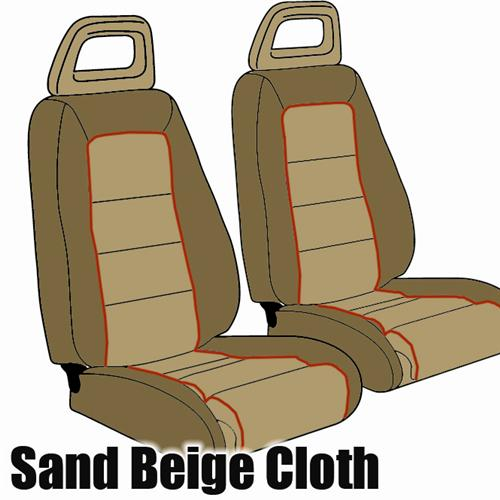 Mustang GT Cloth Seat Upholstery Tan with Red Welt (85-86) GT Convertible