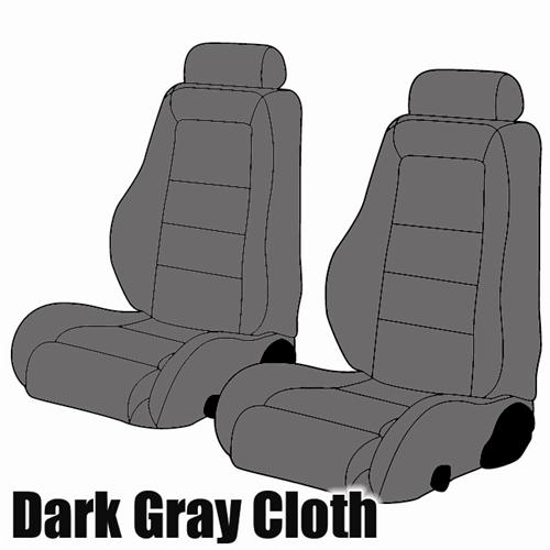 Mustang Cloth Seat Upholstery Dark Grey (85-86)