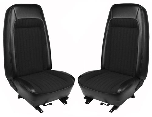 TMI Mustang Seat Upholstery Black Vinyl (79-80) Coupe High Back - Picture of TMI Mustang Seat Upholstery Black Vinyl (79-80) Coupe High Back