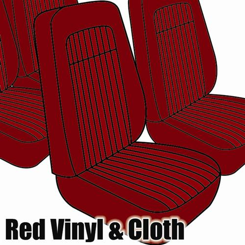 TMI Mustang Seat Upholstery Red Cloth/Vinyl (79-80) Coupe