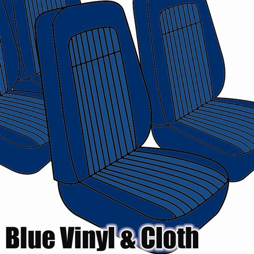 TMI Mustang Seat Upholstery Blue Cloth/Vinyl (79-80) Coupe