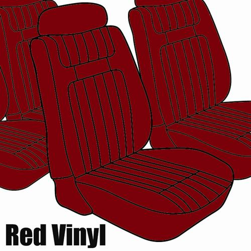 TMI Mustang Seat Upholstery Red Vinyl (79-80) Ghia Coupe
