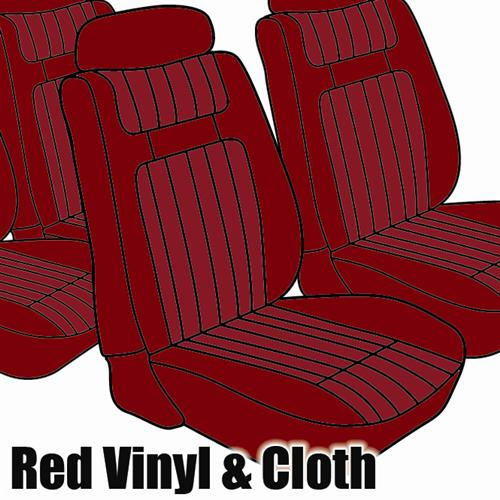 TMI Mustang Seat Upholstery Red Cloth/Vinyl (79-80) Ghia Coupe