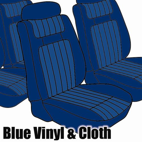 TMI Mustang Seat Upholstery Blue Cloth/Vinyl (79-80) Ghia Coupe
