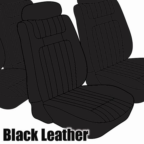 TMI Mustang Seat Upholstery Black Leather (79-80) Ghia Coupe