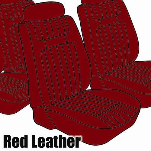TMI Mustang Seat Upholstery Red Leather (79-80) Ghia Coupe