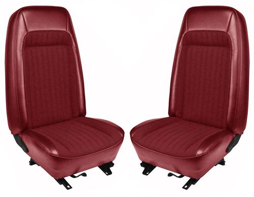 TMI Mustang Seat Upholstery Red Vinyl (79-80) Hatchback High - Picture of TMI Mustang Seat Upholstery Red Vinyl (79-80) Hatchback High