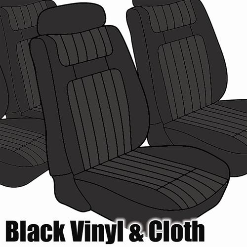 TMI Mustang Seat Upholstery Black Cloth/Viny (79-80) Hatchback Low