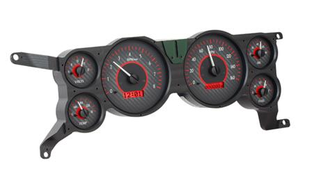Mustang Digital Instrument Cluster Carbon Face/Red Backlighting (79-86) - Picture of Mustang Digital Instrument Cluster Carbon Face/Red Backlighting (79-86)