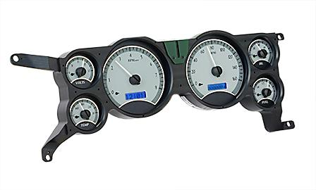 1979-86 Mustang Dakota Digital Vhx Gauge Cluster. Alloy Face/Blue Backlighting