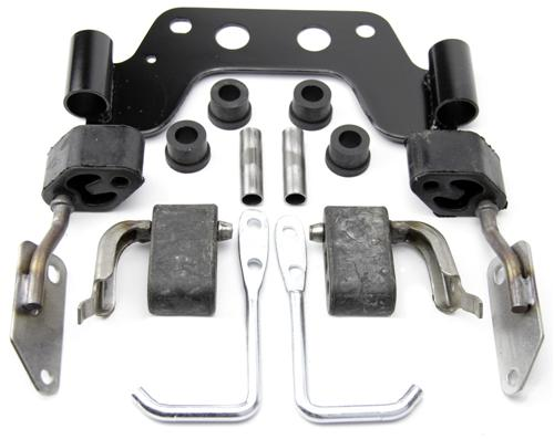 1979-1993 Mustang Dual Exhaust Hanger Kit for 5.0L Manual Transmission Kit Includes  - Picture of 1979-1993 Mustang Dual Exhaust Hanger Kit for 5.0L Manual Transmission Kit Includes Mid-Pipe Hanger for Manual Transmission