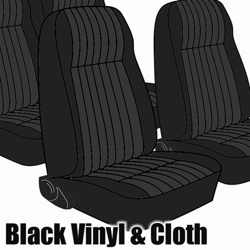 TMI Mustang Seat Upholstery Black Cloth/Vinyl (81-82) Coupe High