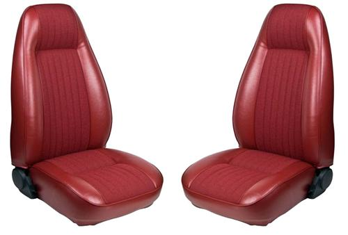 TMI Mustang Seat Upholstery Medium Red Cloth/Vinyl (81-82) Coupe - Picture of TMI Mustang Seat Upholstery Medium Red Cloth/Vinyl (81-82) Coupe
