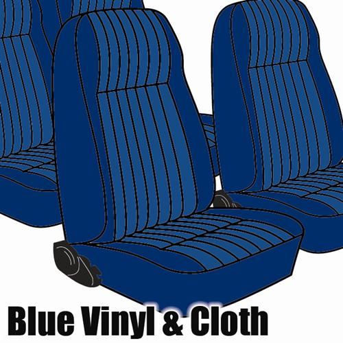 TMI Mustang Seat Upholstery Wedgewood Blue Cloth/Vinyl (81-82) Coupe