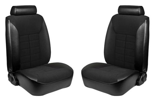 TMI Mustang Seat Upholstery Black Cloth/Vinyl (81-82) Coupe Low Back - TMI Mustang Seat Upholstery Black Cloth/Vinyl (81-82) Coupe Low Back