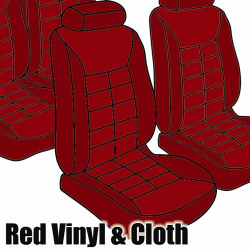 TMI Mustang Seat Upholstery Medium Red Cloth/Vinyl (81-82) Coupe