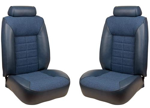 TMI Mustang Seat Upholstery Wedgewood Blue Cloth/Vinyl (81-82) Coupe - Picture of TMI Mustang Seat Upholstery Wedgewood Blue Cloth/Vinyl (81-82) Coupe
