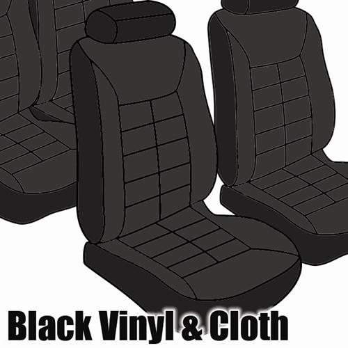 TMI Mustang Seat Upholstery Black Cloth/Vinyl (1981) Ghia Coupe