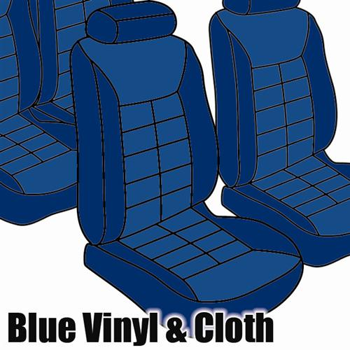 TMI Mustang Seat Upholstery Wedgewood Blue Cloth/Vinyl (81-82) Hatch