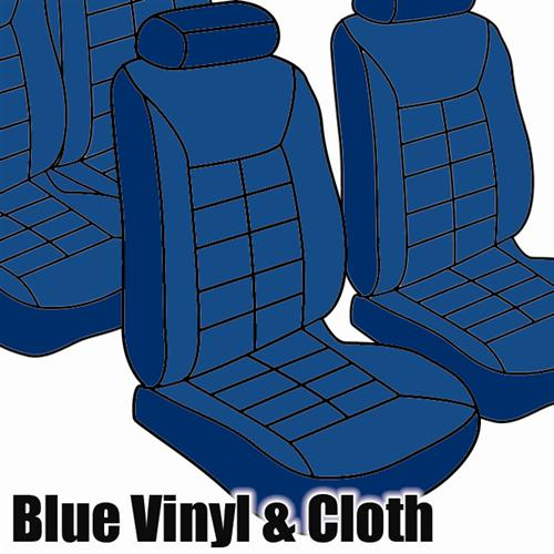 TMI Mustang Seat Upholstery Wedgewood Blue Cloth/Vinyl (1981) Hatch