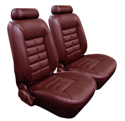 TMI Mustang Seat Upholstery Medium Red Vinyl (81-83) Coupe Low