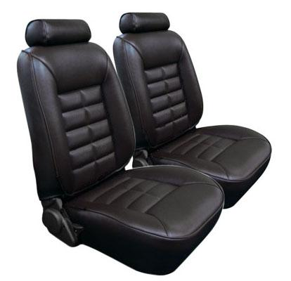 TMI Mustang Seat Upholstery Black Leather (81-83) Coupe Low Back