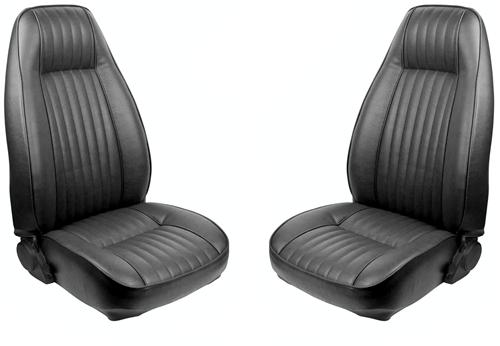 TMI Mustang Seat Upholstery Black Vinyl (81-83) Hatchback High Back - Picture of TMI Mustang Seat Upholstery Black Vinyl (81-83) Hatchback High Back