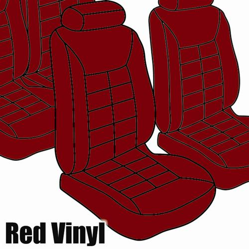 TMI Mustang Seat Upholstery Medium Red Vinyl (81-83) Hatchback Low