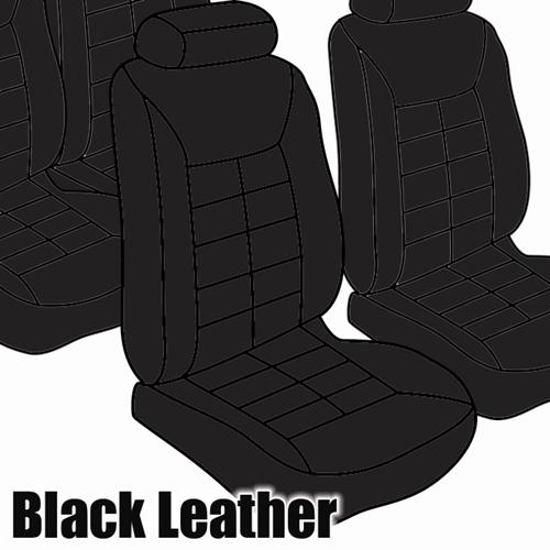 TMI Mustang Seat Upholstery Black Leather (81-83) Hatchback Low