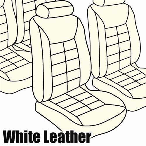 TMI Mustang Seat Upholstery Opal White Leather (82-83) Coupe Low Back
