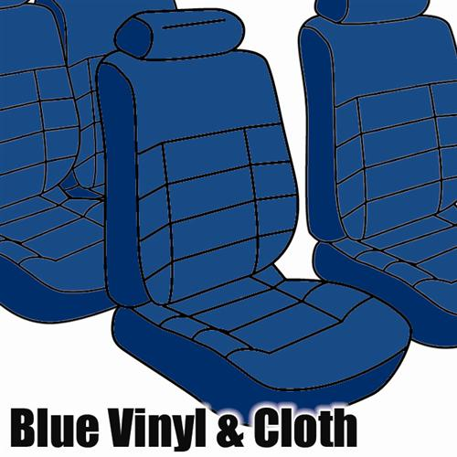TMI Mustang Seat Upholstery Academy Blue Cloth/Vinyl (83-84) Convertible