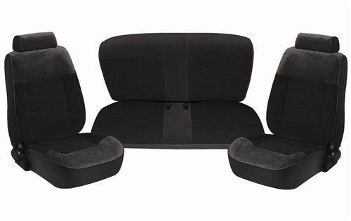 TMI Mustang Seat Upholstery Black Cloth (87-93) Coupe