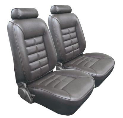 TMI Mustang Seat Upholstery Charcoal Gray Vinyl (84-86) Coupe