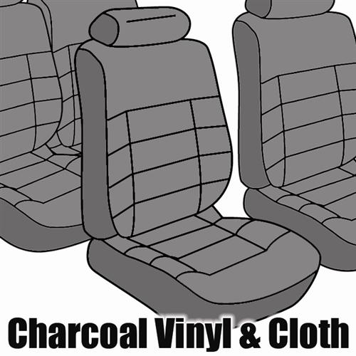 TMI Mustang Seat Upholstery Charcoal Gray Cloth (84-86) Coupe