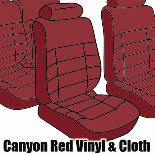 TMI Mustang Seat Upholstery Canyon Red Cloth (84-86) Convertible