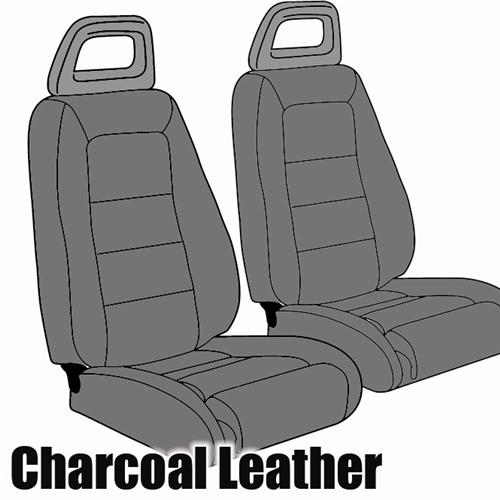TMI Mustang Sport Seat Upholstery Charcoal Gray Leather (85-86) Convertible