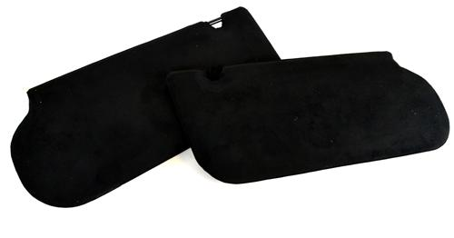 Mustang Sunvisors w/Mirrors  Black Suede (85-93) Hatchback  Coupe