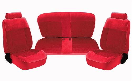 TMI Mustang Standard Seat Upholstery Scarlet Red Cloth (87-89) Coupe