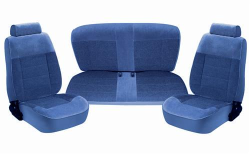 TMI Mustang Standard Seat Upholstery Regatta Blue Cloth (87-89) Coupe