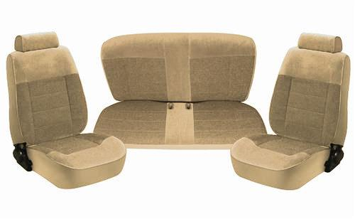 TMI Mustang Standard Seat Upholstery Sand Beige Cloth (87-89) Coupe