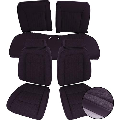 TMI Mustang Seat Upholstery Black Cloth (90-91) Coupe